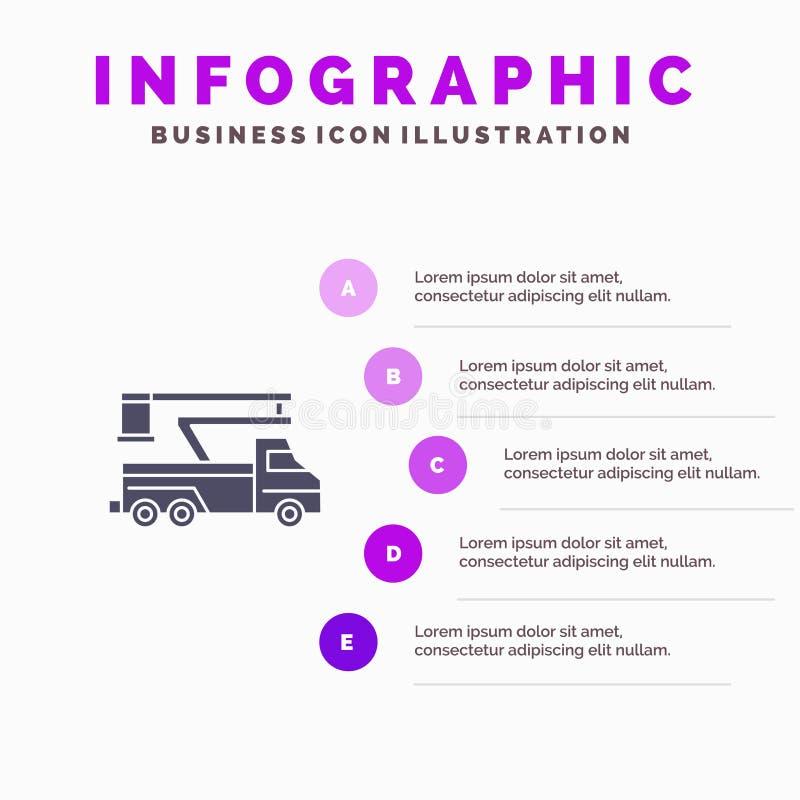 Кран, тележка, подъем, поднимаясь, предпосылка представления шагов Infographics 5 значка перехода твердая иллюстрация штока