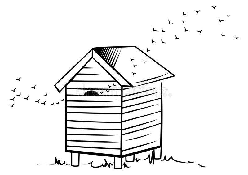 Крапивница пчелы иллюстрация вектора