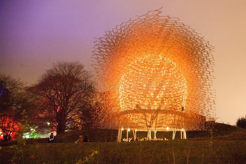 Крапивница пчелы садов Kew на ноче стоковые изображения rf