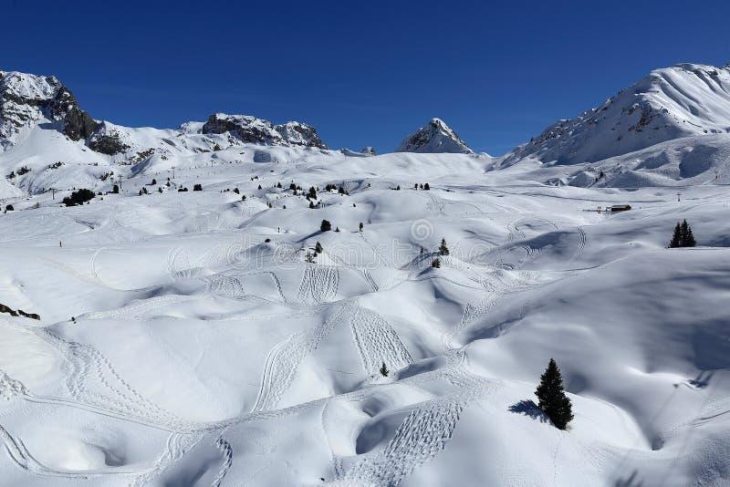 Красавица Plagne, ландшафт зимы в лыжном курорте Ла Plagne, Франции стоковая фотография