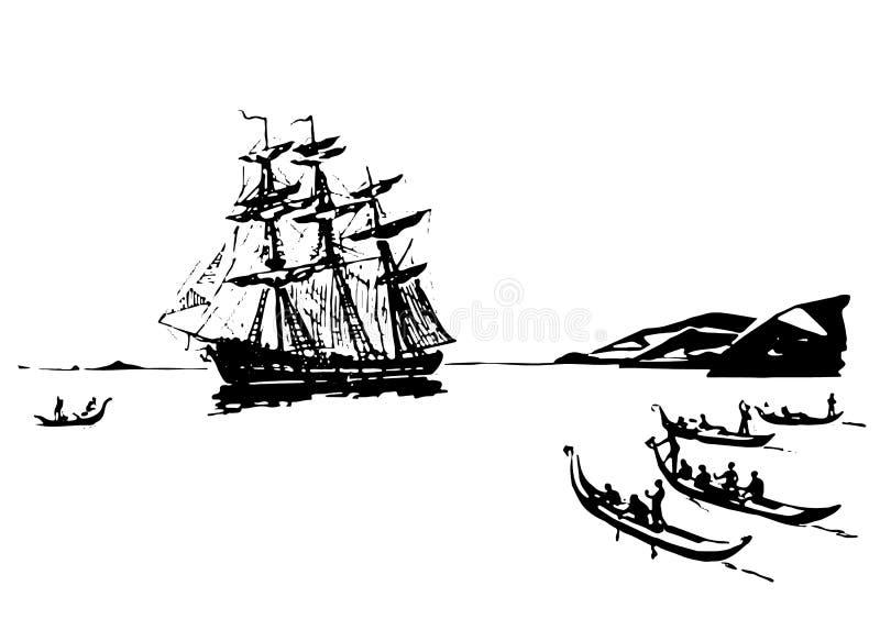 Красивая абстрактная иллюстрация прибрежной полосы старых времен с кораблем рангоута и различными сосудами моря иллюстрация вектора
