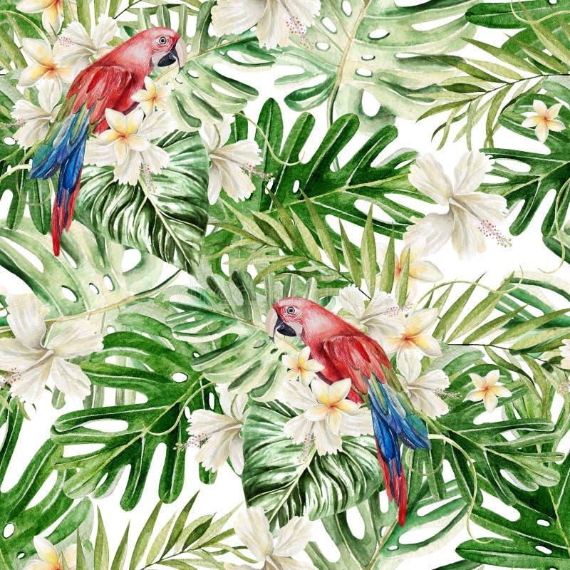 Красивая акварель безшовная, тропическая предпосылка цветочного узора джунглей с ладонью выходит, гибискус цветка, попугай иллюстрация вектора