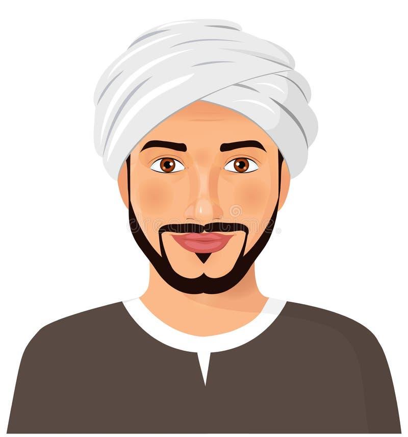 Красивая арабская сторона воплощения человека с усиком и борода в trad бесплатная иллюстрация
