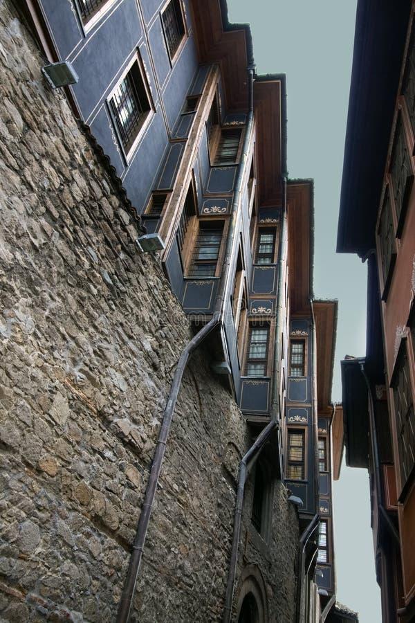 Красивая архитектура старого городка Пловдива, который в 2019 стал столицей культуры в Европе стоковые изображения