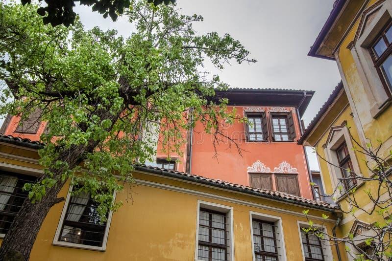 Красивая архитектура старого городка Пловдива, который в 2019 стал столицей культуры в Европе стоковое изображение rf