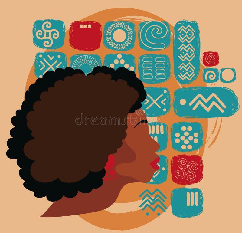 Красивая Афро-американская женщина на этническом орнаменте иллюстрация вектора