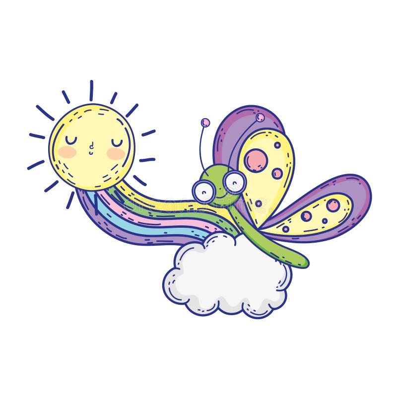 Красивая бабочка с радугой и солнцем иллюстрация штока