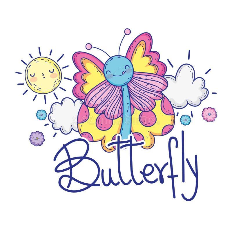 Красивая бабочка с характером каллиграфии иллюстрация вектора
