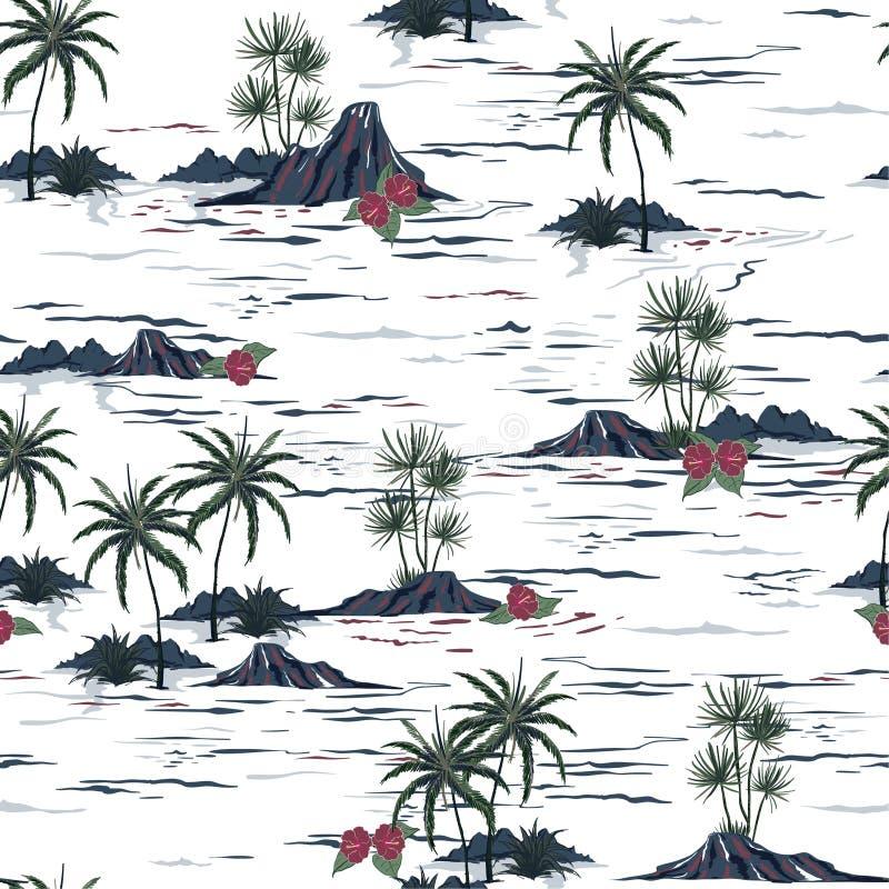 Красивая безшовная картина острова Ландшафт с пальмами, быть иллюстрация вектора