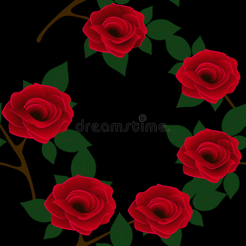Красивая безшовная картина с красными розами на черной предпосылке иллюстрация штока