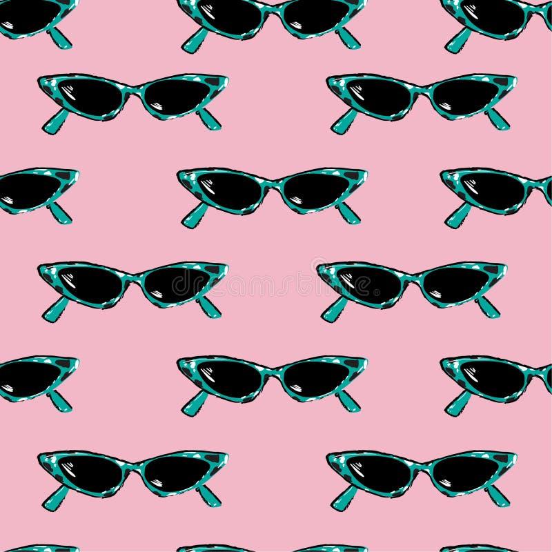 Красивая безшовная картина с солнечными очками ретро руки вычерченными залива иллюстрация вектора