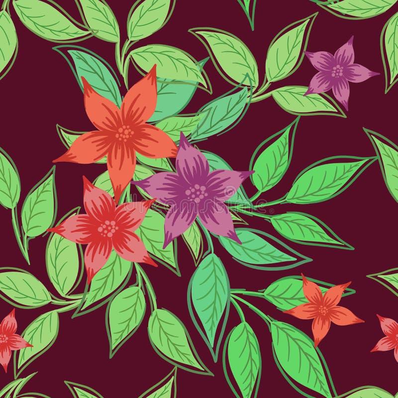 Красивая безшовная картина с цветками и зелеными листьями на бургундской предпосылке иллюстрация вектора