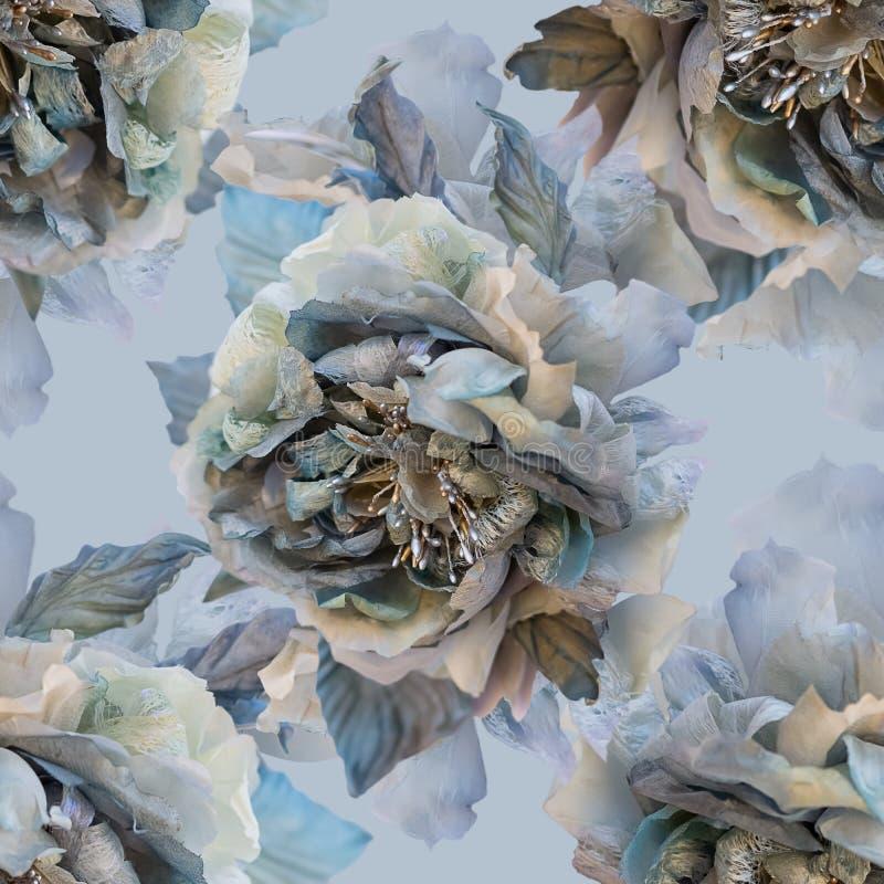 Красивая безшовная картина с цветками роз шелка иллюстрация штока