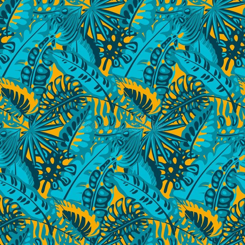 Красивая безшовная картина с ropical листьями ладони джунглей бесплатная иллюстрация