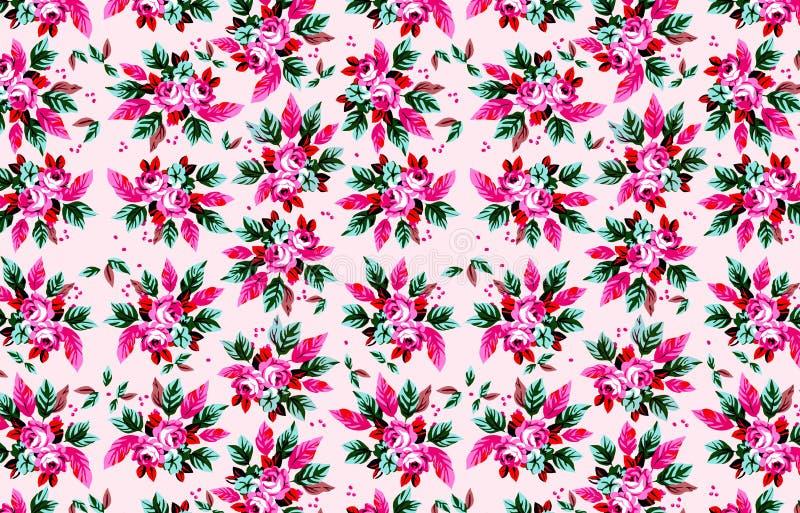 Красивая безшовная картина цветков иллюстрации, предпосылка лета весны E стоковые изображения