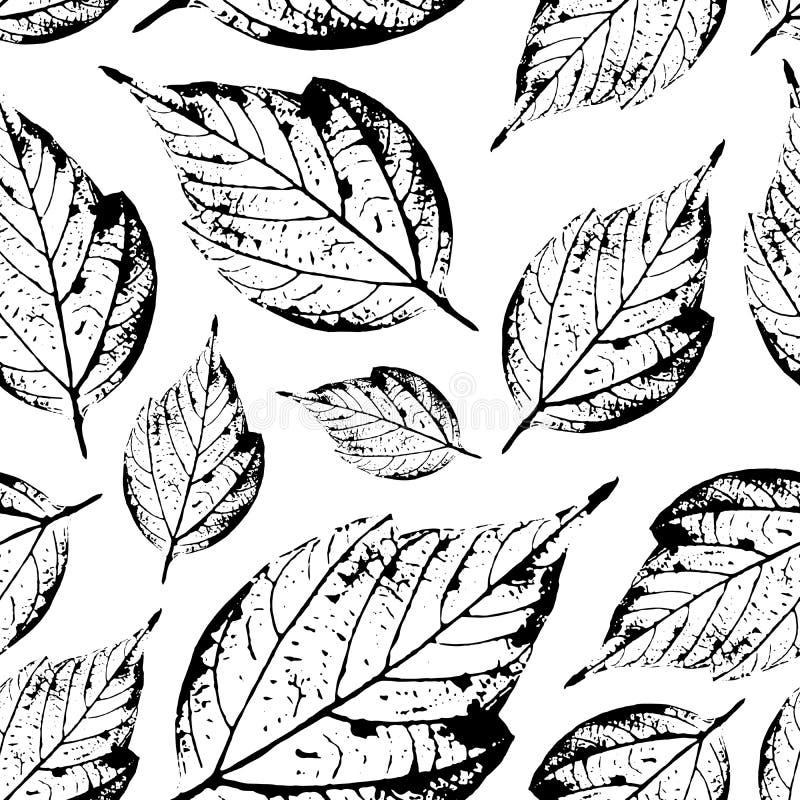 Красивая безшовная картина штемпелей листьев от деревьев и fl бесплатная иллюстрация
