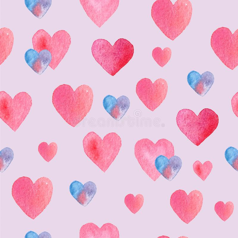 Красивая безшовная нарисованная вручную картина с сердцами стоковое фото
