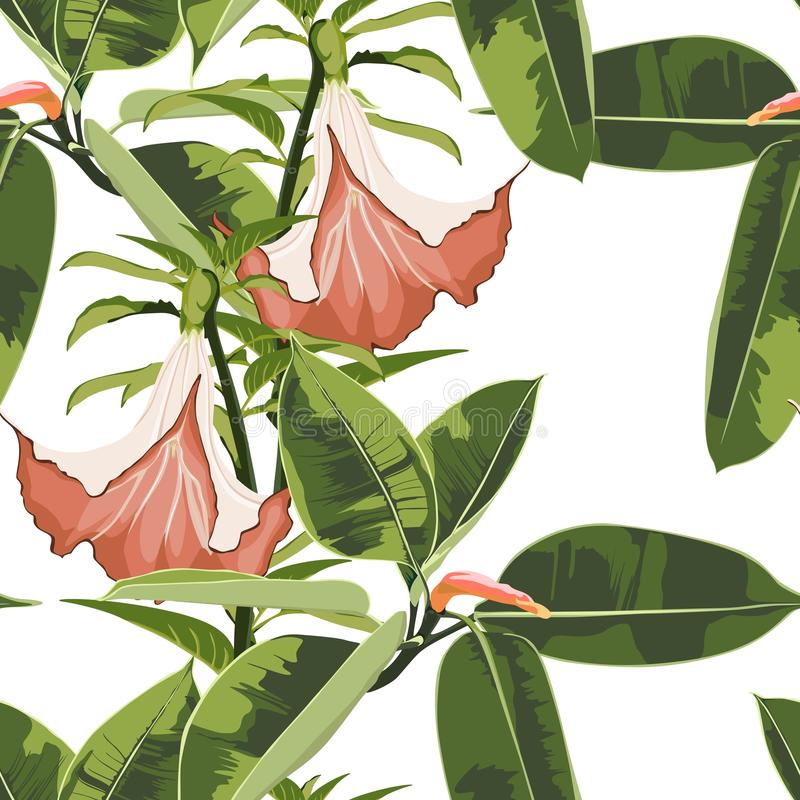 Красивая безшовная предпосылка цветочного узора с экзотическим ярким elastica фикуса и экзотическими оранжевыми цветками лилий иллюстрация вектора
