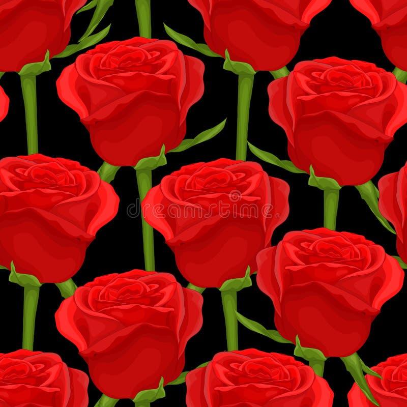 Download Красивая безшовная предпосылка с красными розами на черноте Иллюстрация штока - иллюстрации насчитывающей праздник, длиной: 41650155