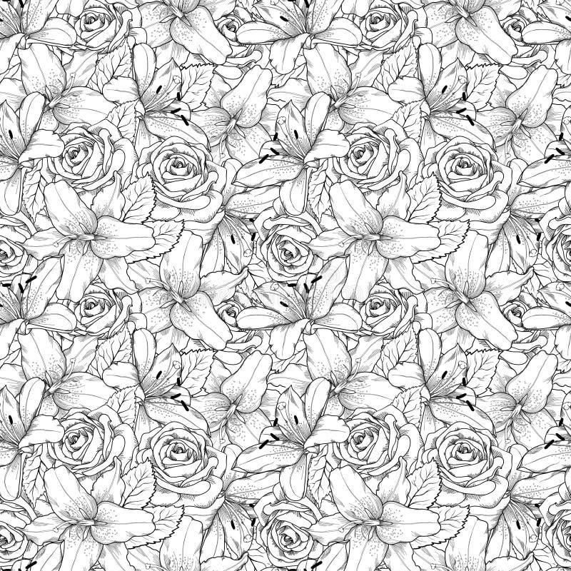 Красивая безшовная предпосылка с черно-белой лилией и розами Нарисованные вручную линии контура и ходы иллюстрация вектора