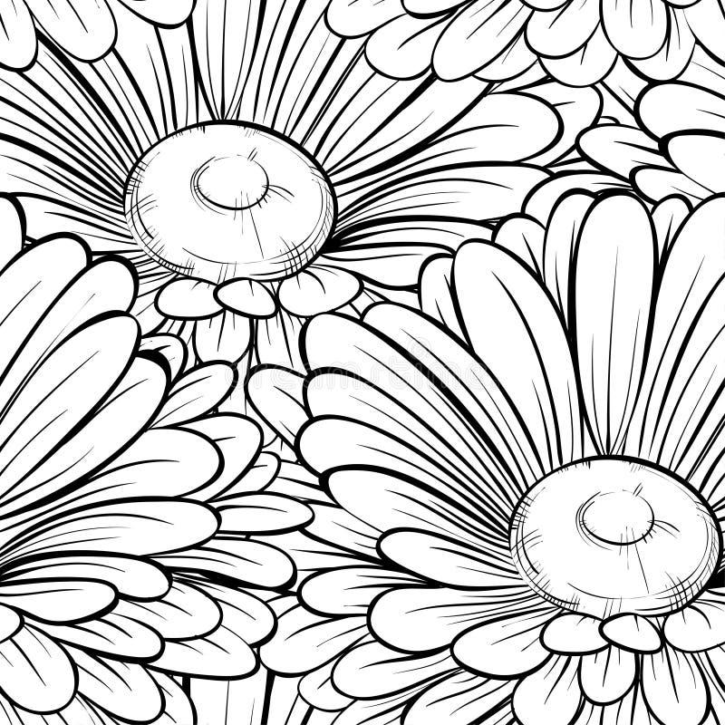 Красивая безшовная предпосылка с monochrome черно-белыми цветками. Нарисованные вручную линии контура и ходы. бесплатная иллюстрация