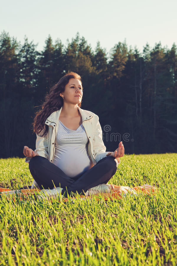 Красивая беременная женщина стоковые фотографии rf