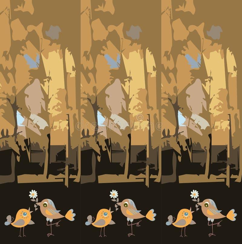 Красивая бесконечная картина со смешными птицами в печати леса любов и осени для ткани, плитки, обоев, создавая программу-оболочк иллюстрация вектора