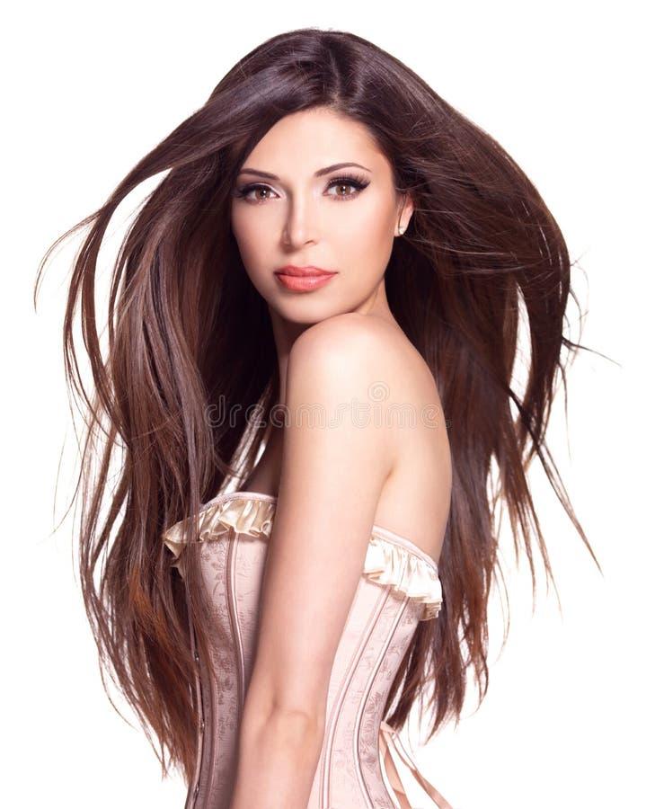 Красивая белая милая женщина с длинными прямыми волосами стоковое изображение rf
