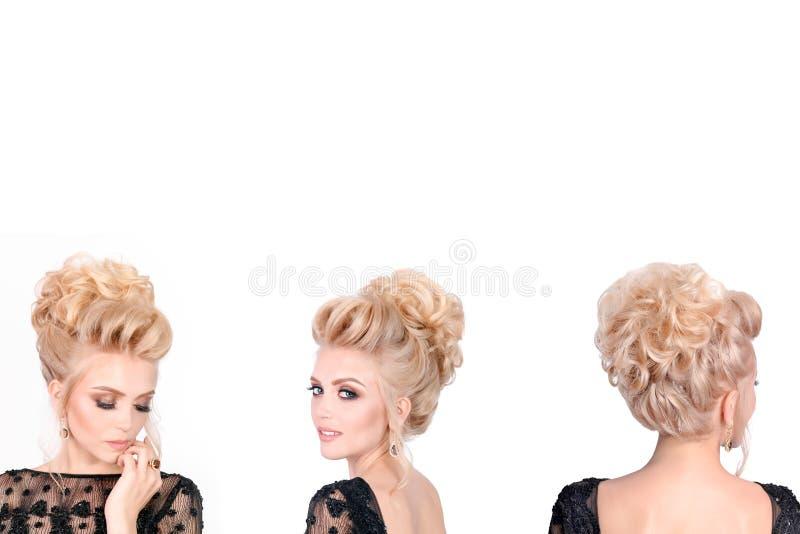 Красивая белокурая женщина в элегантном черном низком уровне отрезала платье вечера с стилем причёсок updo Фронт, сторона и задни стоковое изображение rf