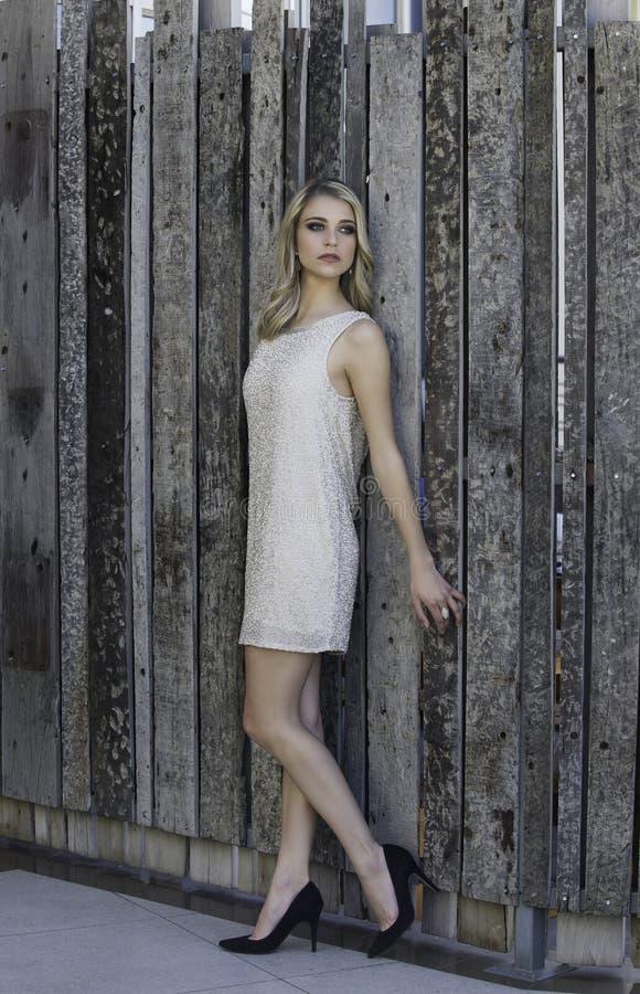 Красивая белокурая склонность женщины против деревянной загородки стоковая фотография