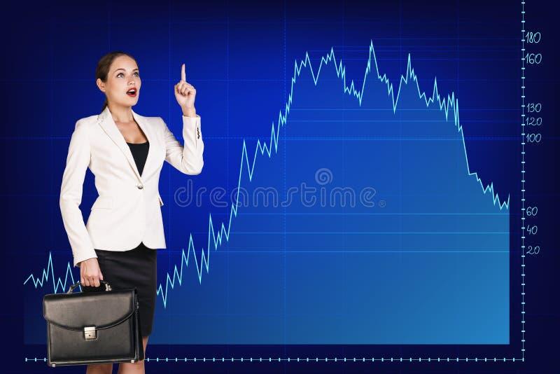 Красивая бизнес-леди близко с большой диаграммой стоковые изображения