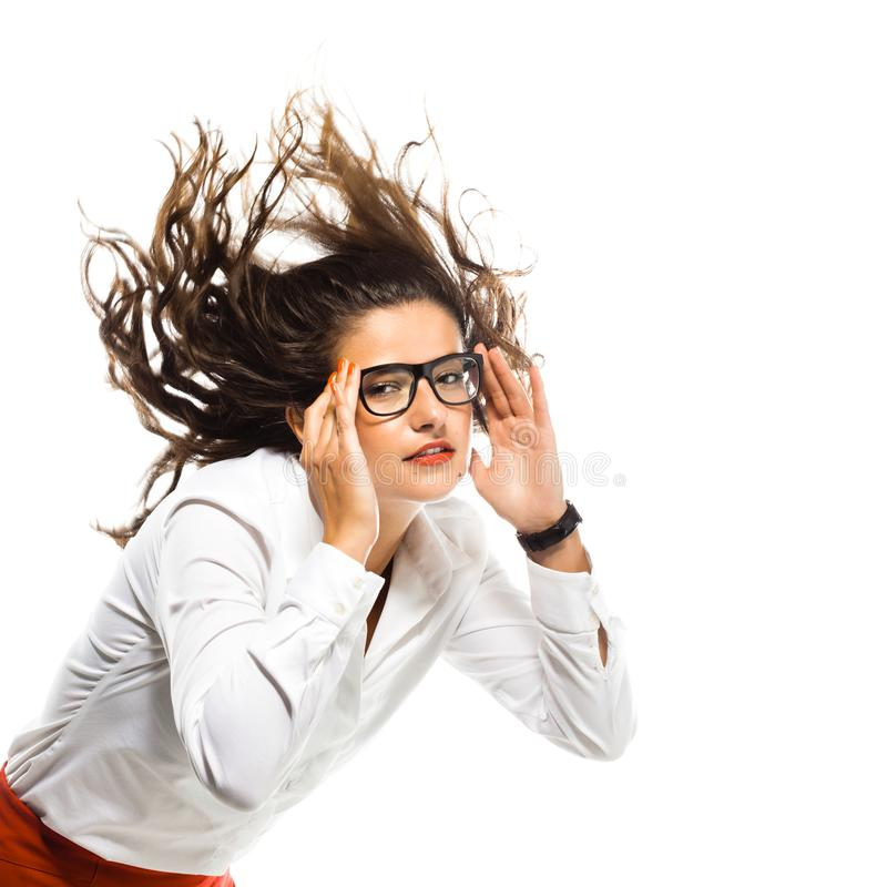 Красивая бизнес-леди с волосами в воздухе стоковые фотографии rf