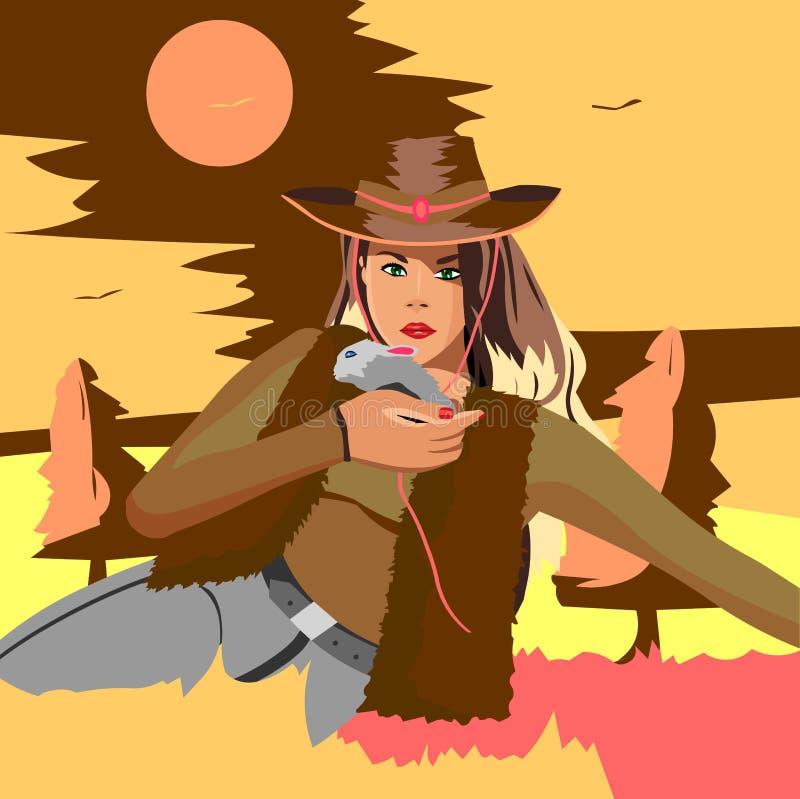 Красивая блондинка в ковбойской шляпе сидя на коробке держа кролика иллюстрация штока
