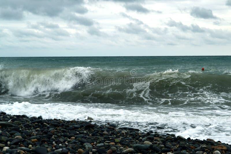 Красивая большая волна моря стоковое изображение rf