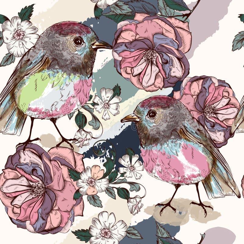 Красивая ботаническая картина в винтажном стиле с птицами и подняла иллюстрация вектора