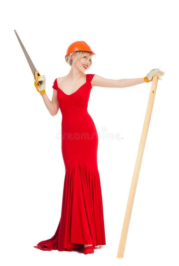 Красивая блондинка в красном платье стоковое изображение rf