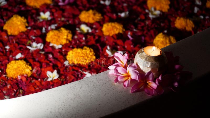 Красивая ванна с цветками стоковые изображения rf