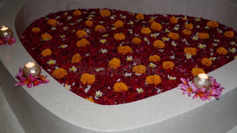 Красивая ванна с цветками стоковое фото