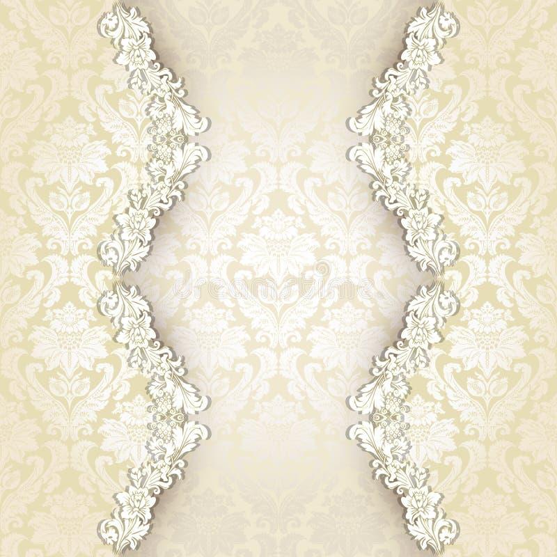 Красивая винтажная карточка приглашения штофа иллюстрация вектора