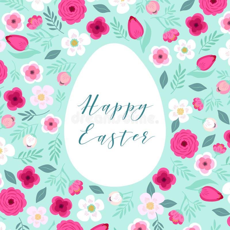 Красивая винтажная счастливая карточка пасхи как яичко сформировала рамку с нарисованными рукой первыми цветками весны иллюстрация штока