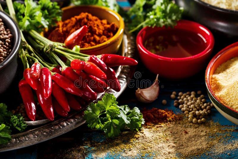 Красивая вкусная аппетитная бакалея специй ингридиентов для Cookin стоковое фото