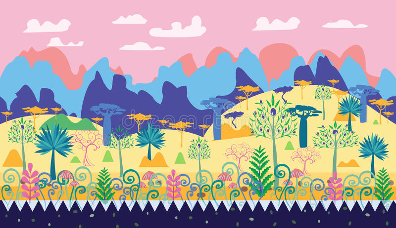 Красивая волшебная иллюстрация сцены леса, temp леса фантазии иллюстрация вектора