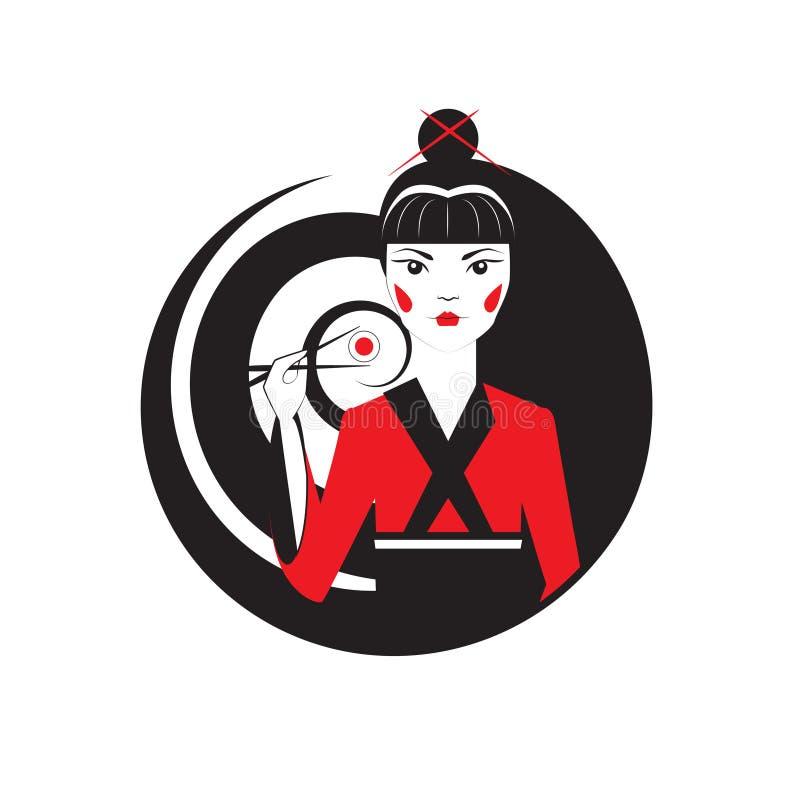 Красивая восточная девушка держа maki суш при chopstiks изолированные на белизне Шаблон логотипа вектора japanise reastaurant бесплатная иллюстрация
