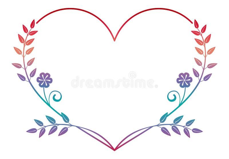 Красивая в форме сердц рамка цветка с заполнением градиента Рамка силуэта цвета бесплатная иллюстрация