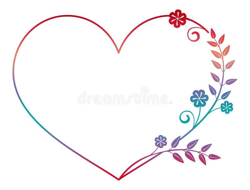 Красивая в форме сердц рамка цветка с заполнением градиента Рамка силуэта цвета иллюстрация штока
