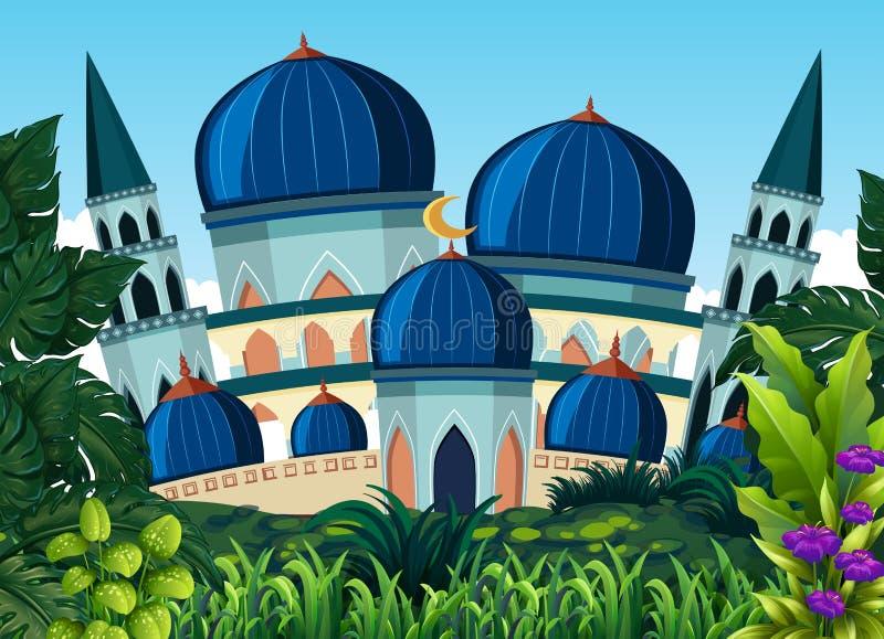 Красивая голубая мечеть бесплатная иллюстрация
