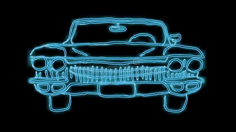 Красивая голубая яркая накаляя абстрактная неоновая вывеска сильного быстрого старого ретро американского классического автомобил иллюстрация вектора