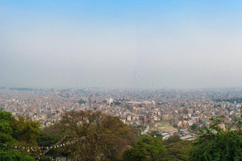 Красивая городская панорама 25-ого марта 2018 в Катманду, Непале стоковое изображение rf