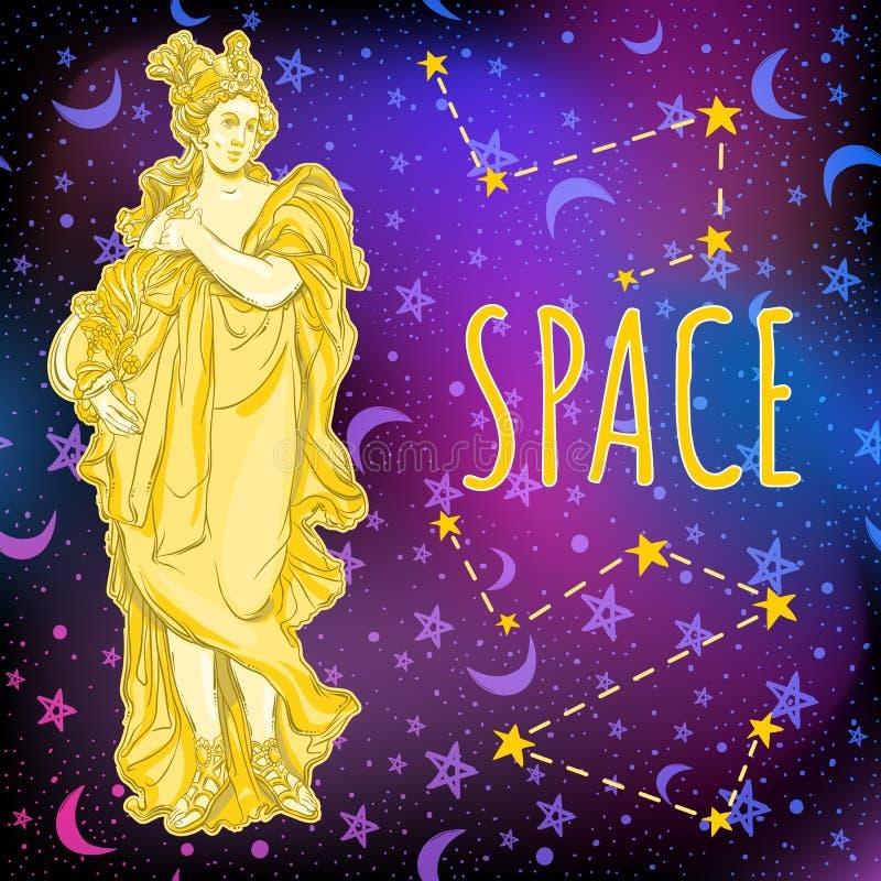 Красивая греческая богиня на предпосылке космоса Мифологическая героиня древней греции Иллюстрация вектора космического пространс иллюстрация штока