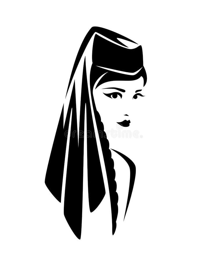 Красивая грузинская женщина с традиционным вектором headwear бесплатная иллюстрация